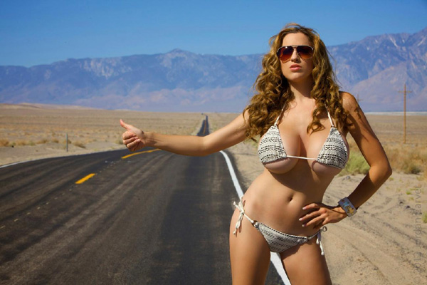 Exotic hitch hiking babe public car fuck